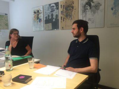 Heilbronn meets Stuttgart: Annette Gast-Prior Mitarbeiterin im Heilbronner Wahlkreisbüro und Malte Heinrich, Mitarbeiter im Abgeordneten Büro Stuttgart, während der Teamklusur