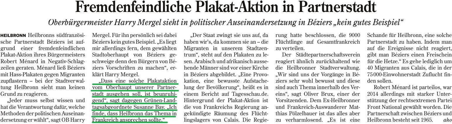 Fremdenfeindliche Plakat-Aktion in Partnerstadt (Heilbronner Stimme, 13.10.2016)